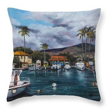 Throw Pillow featuring the painting Lahaina Harbor by Darice Machel McGuire