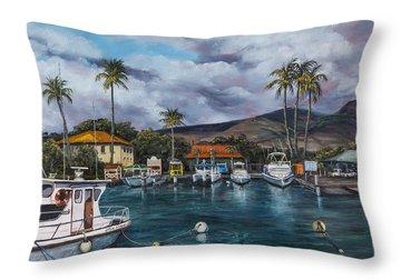Lahaina Harbor Throw Pillow by Darice Machel McGuire