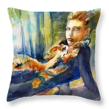 Throw Pillow featuring the painting Laidback by P Maure Bausch