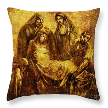 Laid_in_the_tomb Via Dolorosa 14 Throw Pillow by Lianne Schneider