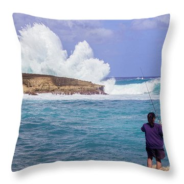 Throw Pillow featuring the photograph Laie Point Gone Fishin by Aloha Art