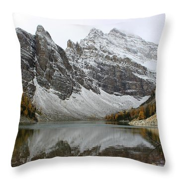 Throw Pillow featuring the photograph Lake Agnes by Ramona Johnston
