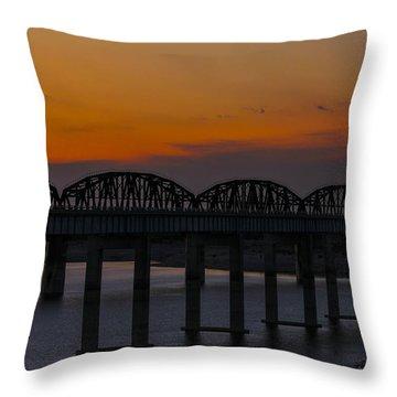 Lake Amistad Sunset Throw Pillow by Amber Kresge