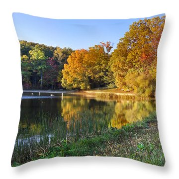 Lake At Chilhowee Throw Pillow by Debra and Dave Vanderlaan