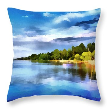 Lake Balaton At Summer Throw Pillow