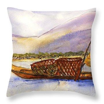 Lake Burma Fisherwoman Throw Pillow