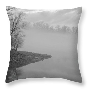 Lake Chatuge Lost In Fog Throw Pillow by Kenny Francis