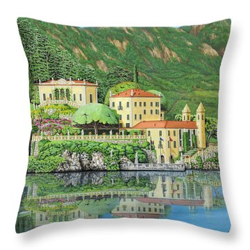 Throw Pillow featuring the painting Lake Como Morning by Jane Girardot
