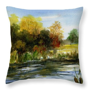 Lake Conway Cattails Throw Pillow