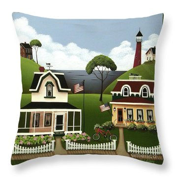 Lake Cottages Throw Pillow by Catherine Holman