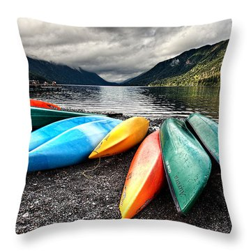 Lake Crescent Kayaks Throw Pillow