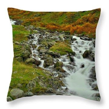 Lake District Waterfall Throw Pillow