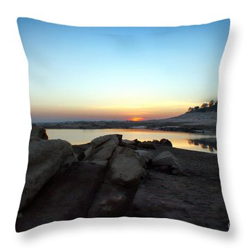 Lake Folsom California Rocky Sunset Throw Pillow