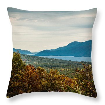 Lake George Throw Pillow by Sara Frank