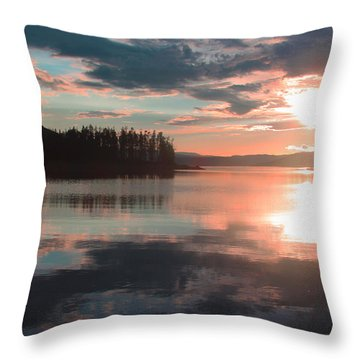 Lake Granby Sunset Throw Pillow by Chris Thomas
