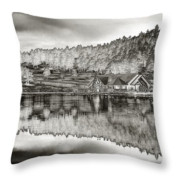 Lake House Reflection Throw Pillow