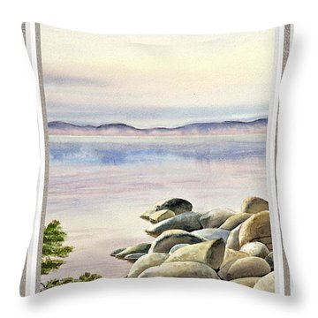 Lake House Window View Throw Pillow