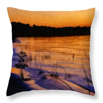 Lake Huron Sunset  Throw Pillow by Michelle Calkins