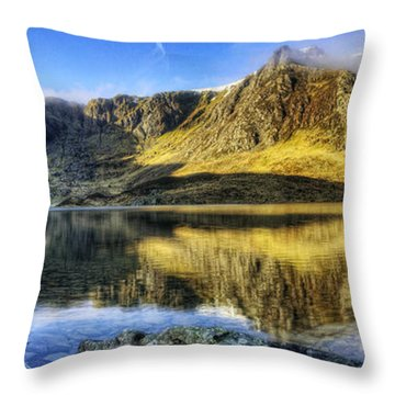 Lake Idwal Panorama Throw Pillow by Ian Mitchell