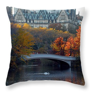 Lake In Central Park Throw Pillow