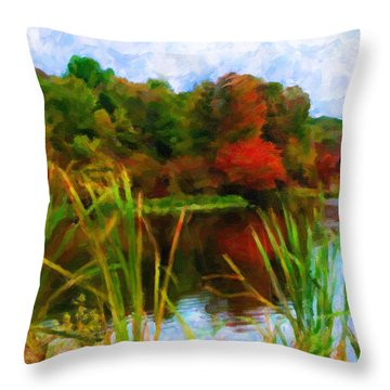 Lake In Early Fall Throw Pillow