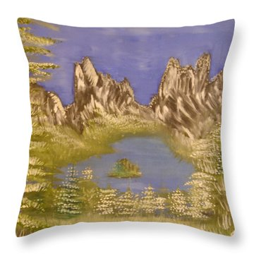 Lake In Glacier Throw Pillow