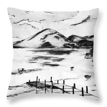 Lake In Guatemala Throw Pillow