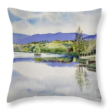 Lake In Tuscany Throw Pillow