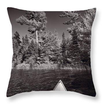 Lake Kayaking Bw Throw Pillow