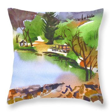Lake Killarney With Rock Wall Throw Pillow by Kip DeVore