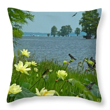 Throw Pillow featuring the photograph Lake Lotus And Swallows by Deborah Smith