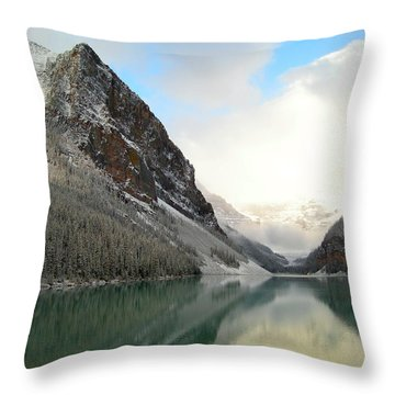 Lake Louise After The Dusting Of Snow Throw Pillow