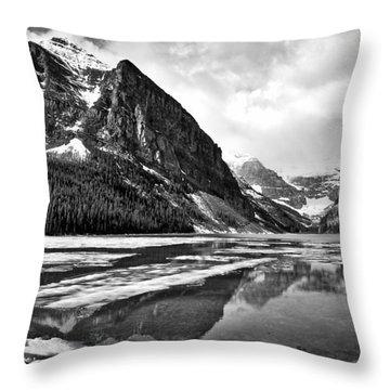 Lake Louise - Black And White #3 Throw Pillow