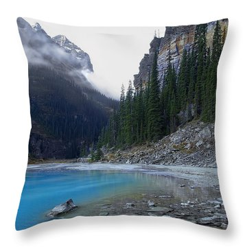 Lake Louise North Shore - Canada Rockies Throw Pillow by Daniel Hagerman