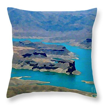 Lake Mead Aerial Shot Throw Pillow by John Malone