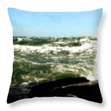 Lake Michigan In An Angry Mood Throw Pillow by Michelle Calkins