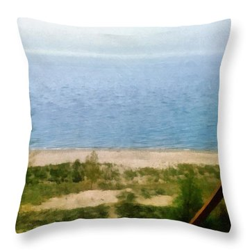 Lake Michigan Staircase Throw Pillow by Michelle Calkins