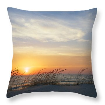 Lake Michigan Sunset With Dune Grass Throw Pillow