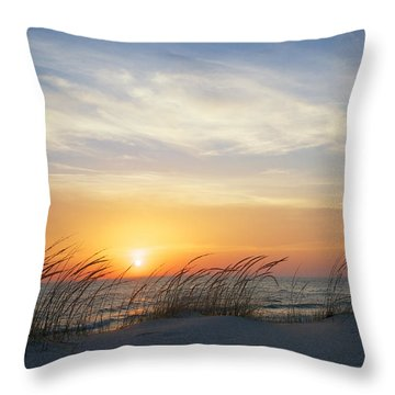 Throw Pillow featuring the photograph Lake Michigan Sunset With Dune Grass by Mary Lee Dereske