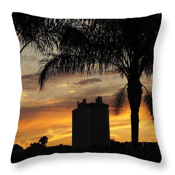 Lake Mirror Sunset Throw Pillow by Laurie Perry