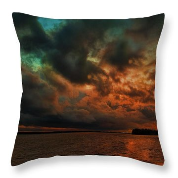 Lake Murray Fire Sky Throw Pillow by Steven Richardson