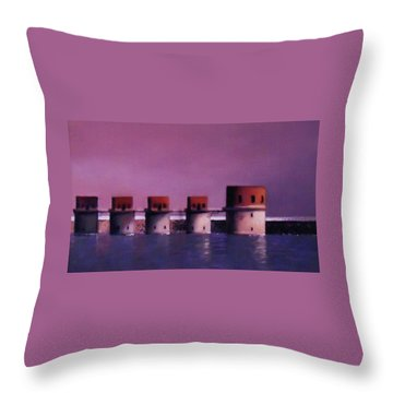 Lake Murray Towers In Evening Throw Pillow by Blue Sky