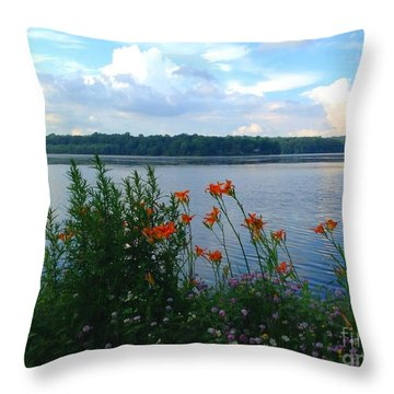 Lake Muscenetcong And Wild Flowers In Netcong New Jersey Throw Pillow