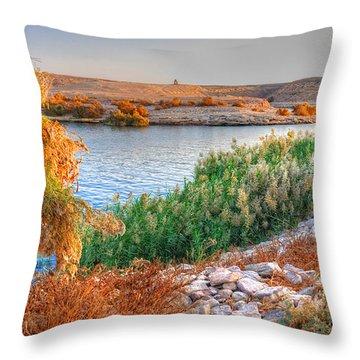 Lake Nasser Sunset Throw Pillow by Nigel Fletcher-Jones