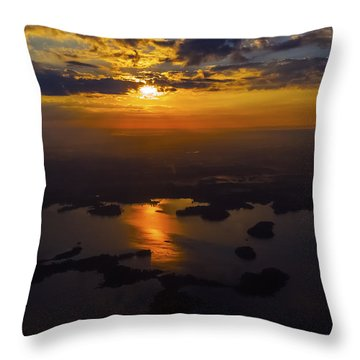 Lake Norman Sunrise Throw Pillow by Greg Reed