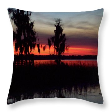 Lake On Fire Throw Pillow