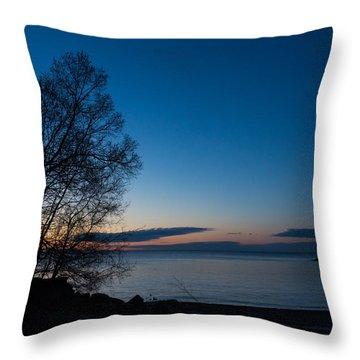 Throw Pillow featuring the photograph Lake Ontario Blue Hour by Georgia Mizuleva