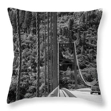 Lake Oroville Bridge Black And White Throw Pillow