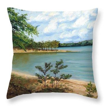 Lake Ouachita Throw Pillow by Helen Eaton