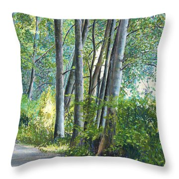Lake Padden Series - Kathleen Keller Memorial Bench Throw Pillow